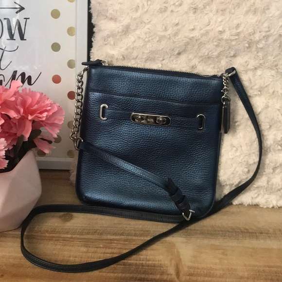 72b832ed Coach swagger metallic blue swing Crossbody